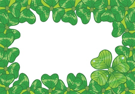 Background with clovers for St.Patrick`s day, vector illustration. one Happy Four-leafed clover