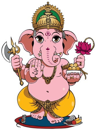Lord Ganesha of Hindus God. Vector