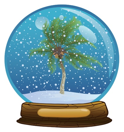 Coconut palm tree in the sphere with a snow Illustration