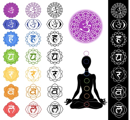 sahasrara: Man silhouette in yoga position with the symbols of seven chakras