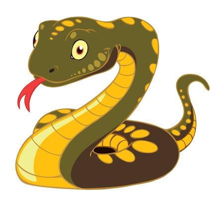 venomous snake: Una ilustraci�n vectorial de dibujos animados de una serpiente de color marr�n.