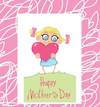 women s day: Cute little girl holding the pink heart