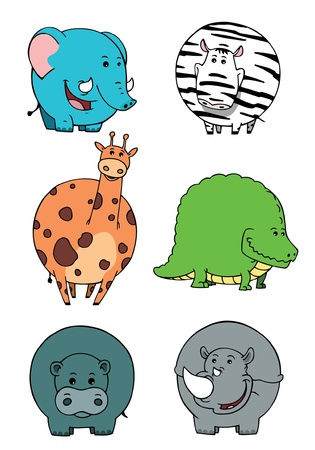 Isolated cute  animals cartoons collections Illustration