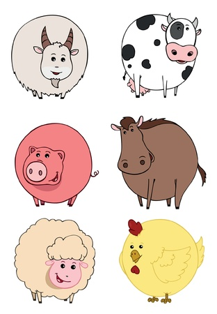 illustration of isolated farm animals set on white background Vector