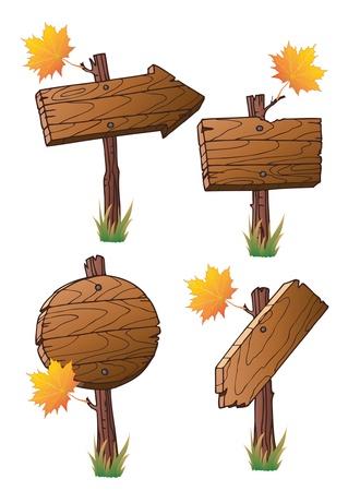 Set aus Holz Verkehrszeichen Vektorgrafik