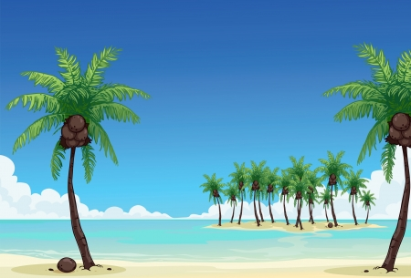 Coconut palm tree and the blue sea Stock Vector - 14809082
