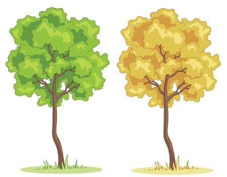 Illustration of a cartoon tree on a patch of grass.