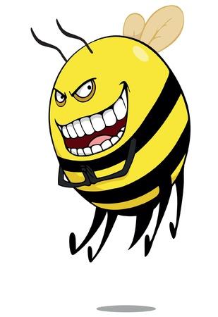 Evil bee or  hornet  cartoon