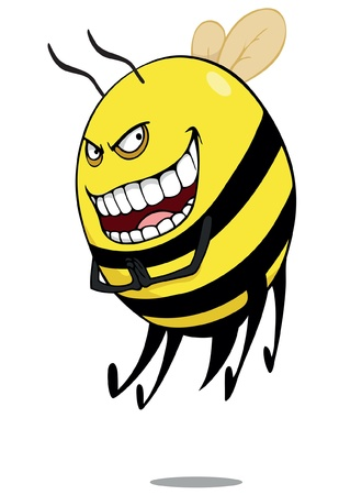 Evil bee or  hornet  cartoon  Stock Vector - 14856375