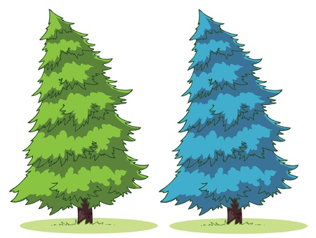 Illustration of a cartoon fir tree on a patch of grass.  Illustration