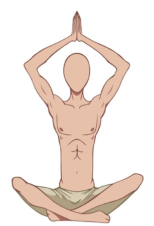 Silhouette of man in lotus position Illustration