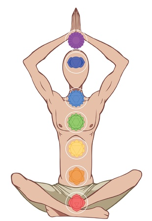 kundalini: Man silhouette in yoga position with the symbols of seven chakras