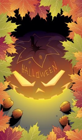 Halloween night background with Jack O  Lantern Illustration