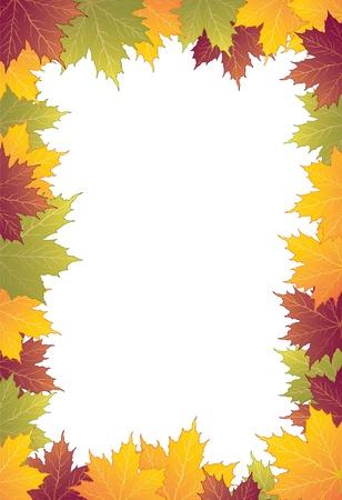 hojas de maple: Oto�o marco con las hojas de arce
