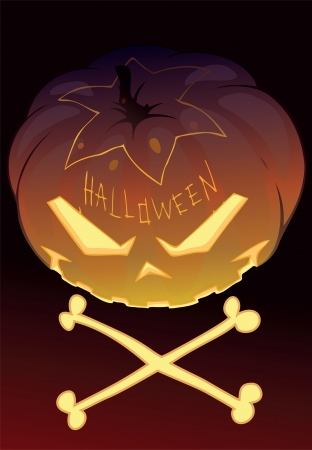 Illustration of a Halloween pumpkin with two bones
