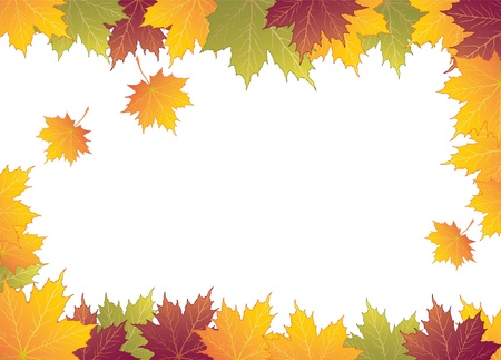 Autumn frame with maple leaves  Illustration