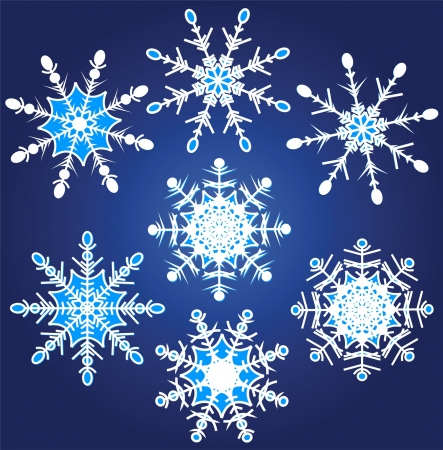 Vector illustration set of beautiful various snowflakes