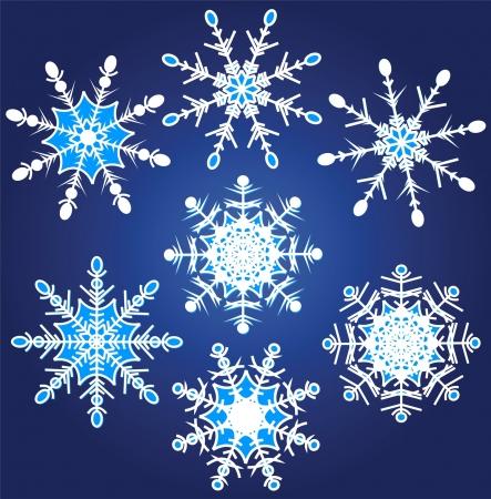 Vector illustration set of beautiful various snowflakes Stock Vector - 16024472