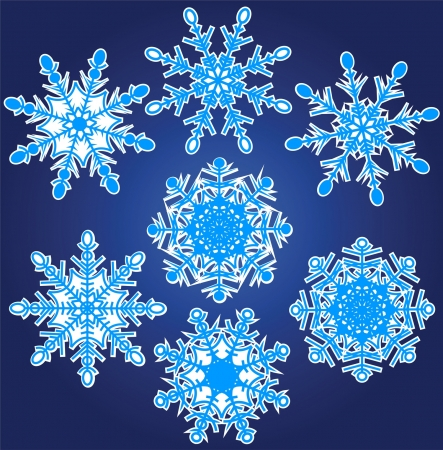 Vector illustration set of beautiful various snowflakes Stock Vector - 16024475