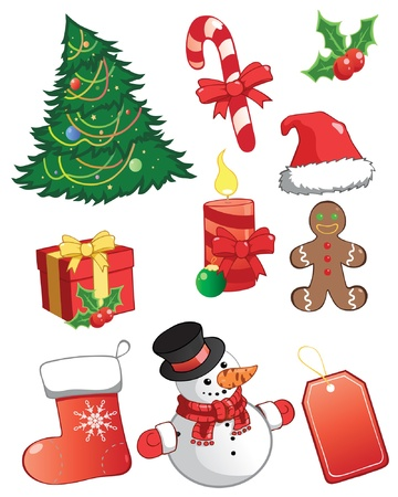 christmas icons.  Illustration