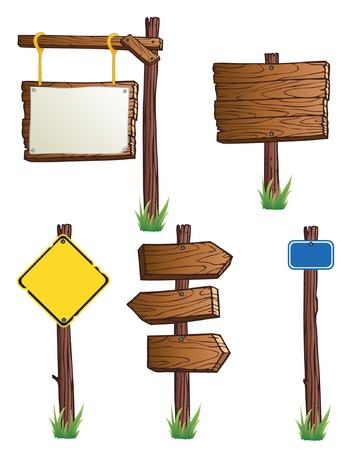 나무 도로 표지판의 집합