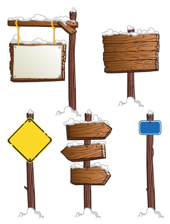 set of wooden road signs Vector