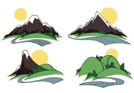 Road icons with the hills and mountains  Vector