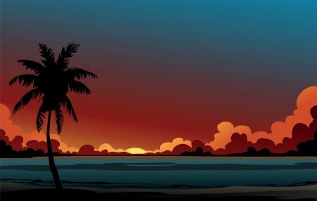 rising of sun: Palma de coco árbol y el azul del mar