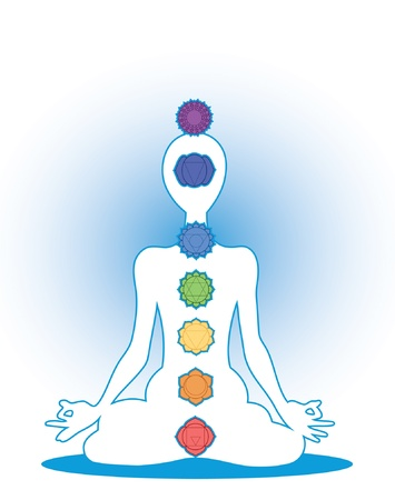 meditation man: Man silhouette in yoga position with the symbols of seven chakras