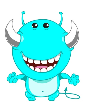 Cute cartoon blue monster  Vector illustration Stock Vector - 17998822