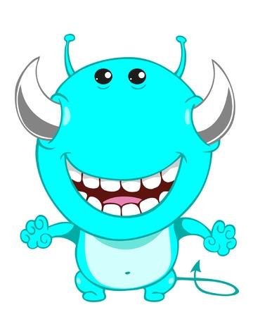 Cute cartoon blue monster  Vector illustration Stock Vector - 17998822