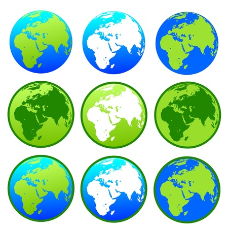 Vector Earth globes  isolated on white background Stock Vector - 17998821