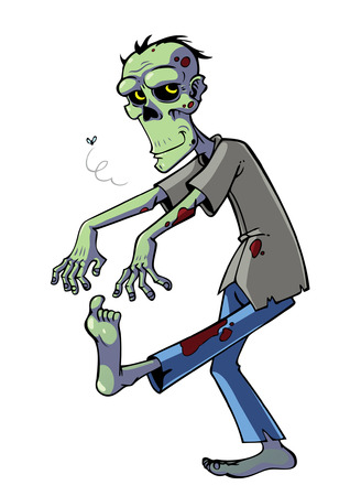 Cartoon zombie isolated on white Stock Vector - 23060319