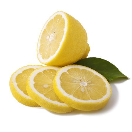 lemon slices: image of fresh lemon with leaf isolated on white background Stock Photo