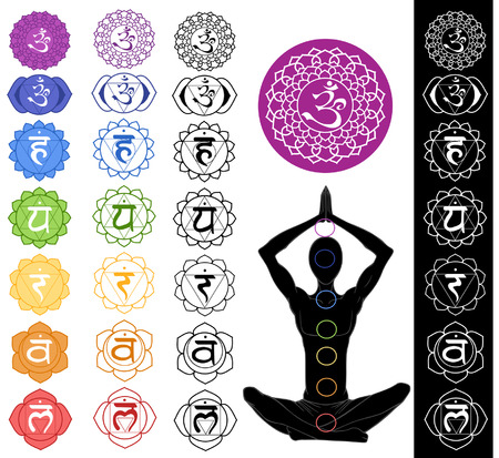 chakra symbols: Man silhouette in yoga position with the symbols of seven chakras