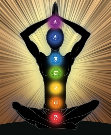 kriya: Man silhouette in yoga position with the symbols of seven chakras