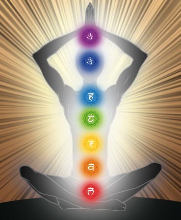 mantra: Man silhouette in yoga position with the symbols of seven chakras