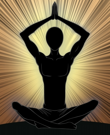 tantra: Man silhouette in yoga position  Stock Photo