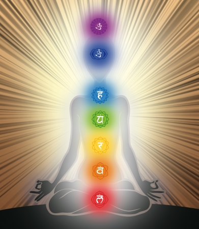 kriya: Man silhouette in yoga position with the symbols of seven chakras Stock Photo