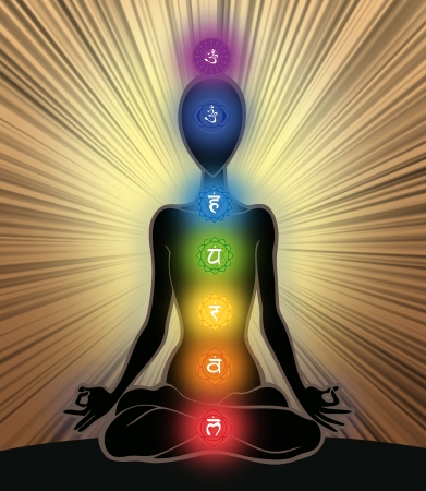 manipura: Man silhouette in yoga position with the symbols of seven chakras Stock Photo