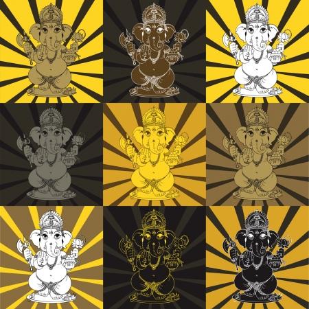 hindues: Señor Ganesha de los hindúes Dios Vectores