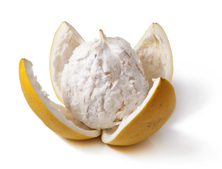 opened pomelo isolated on white background