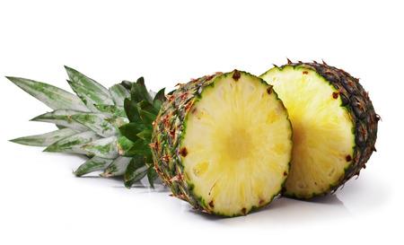 fresh slice pineapple isolated on white background  Stock Photo