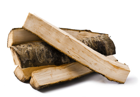 fire wood made from aspen isolated on white