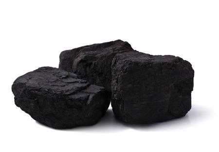 anthracite coal: pile black coal isolated on white  Stock Photo