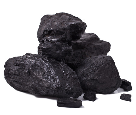 coal fire: pile black coal isolated on white  Stock Photo