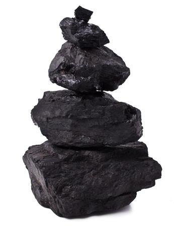 anthracite coal: Pyramid Zen stones black coal on white
