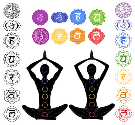 kundalini:  silhouette in yoga position with the symbols of seven chakras  Illustration
