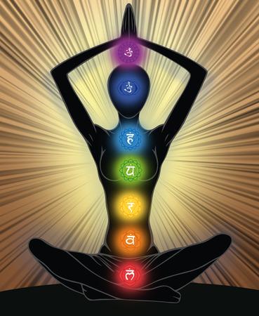 kundalini: Silhouette della donna in posizione yoga con i simboli di sette chakra