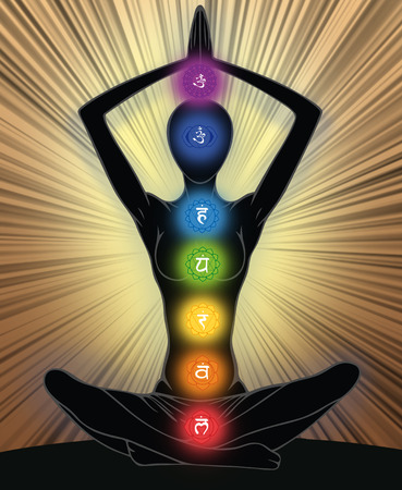 human aura: Woman silhouette in yoga position with the symbols of seven chakras